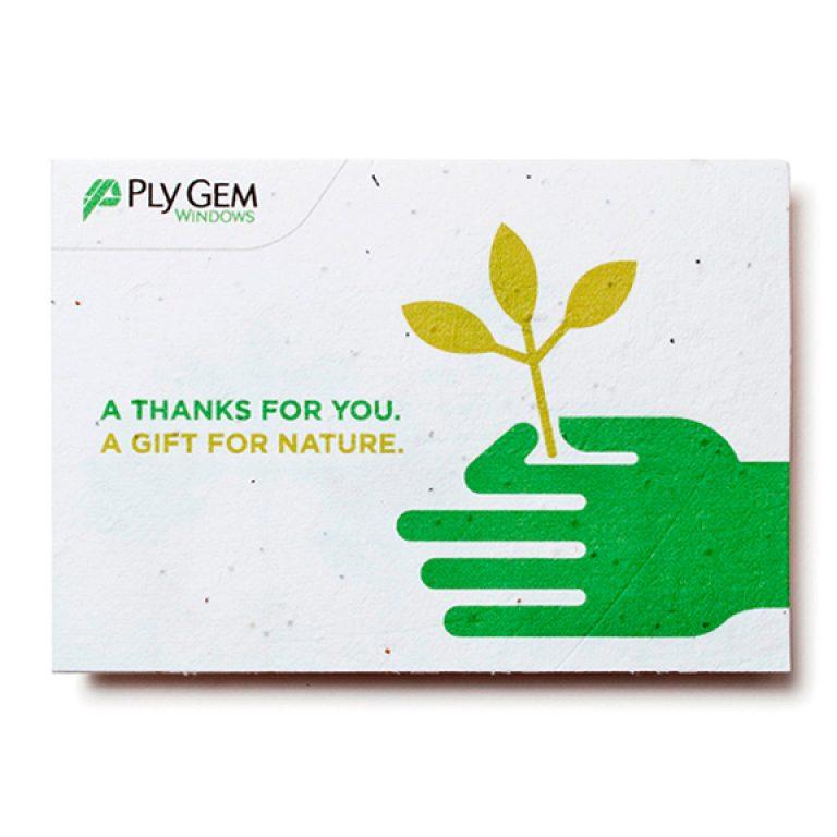 Seed Paper Card Medium Custom Green Promos Seeded Paper