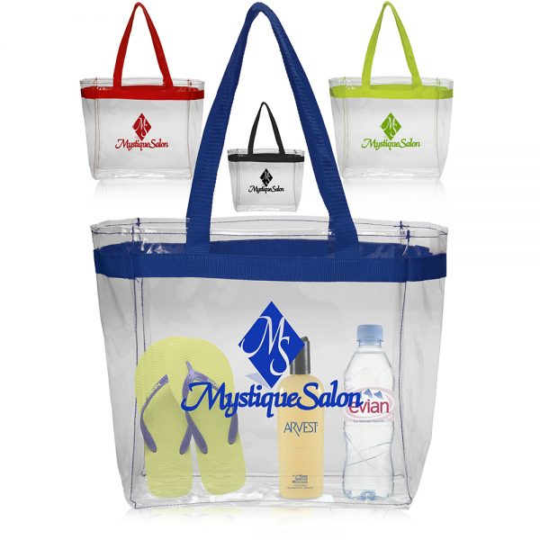 Color Handles Clear Plastic Tote Bags ATOT132